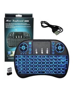 Mini Teclado Inalambrico con Iluminacion,con Mouse Integrado para TV/PC Hasta 5 Metros Recargable
