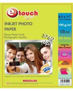Papel Foto Glossy Etouch Carta 8.5 X 11 Paquete 200 Hojas 200gm
