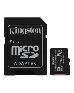 Memoria CANVAS Select Plus Micro SD 16GB Kingston Clase 10 100MB/s 1 Adap